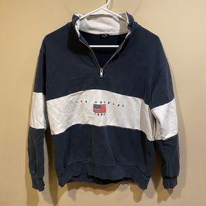 Brandy Melville Navy Blue and White Quarter Zip